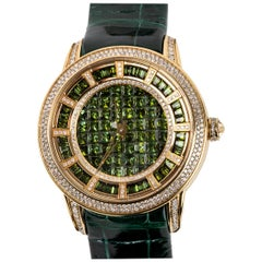 Green Tourmaline and Diamond Watch