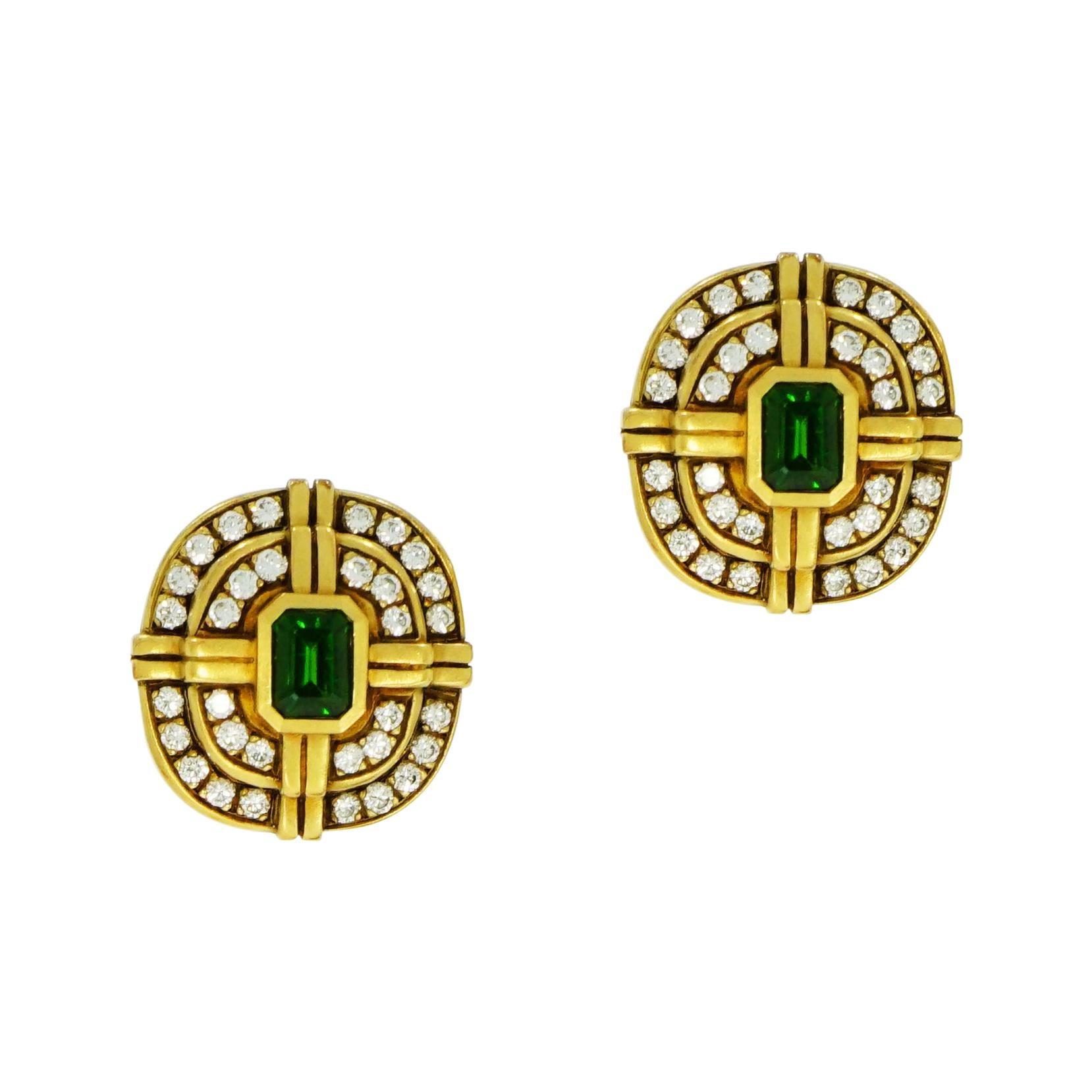 Green Tourmaline and Diamond Yellow Gold Non-Pierced Clip Earrings