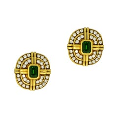 Green Tourmaline and Diamond Yellow Gold Non-Pierced Clip Earrings