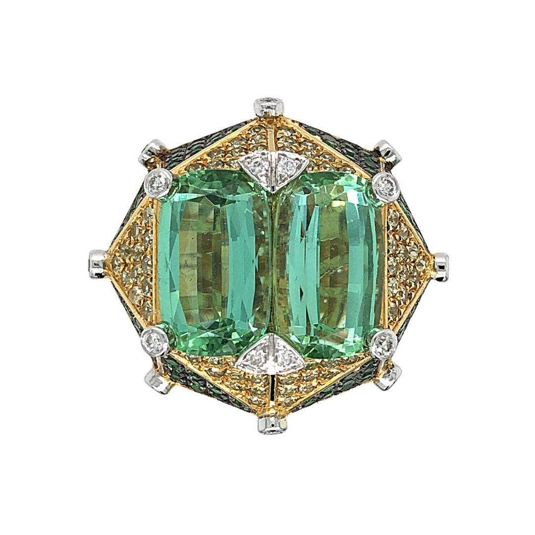 """Green Tourmaline and Diamonds """"Demoiselle"""" Ring by Dilys' in 18K Gold"""