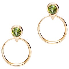 Green Tourmaline and Gold Door Knocker Earrings