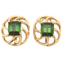 Green Tourmaline and Gold Earrings