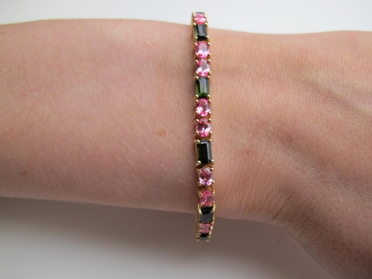 Emerald Cut Green Tourmaline and Pink Spinel Bracelet, 18 Karat Pink and Yellow Gold For Sale