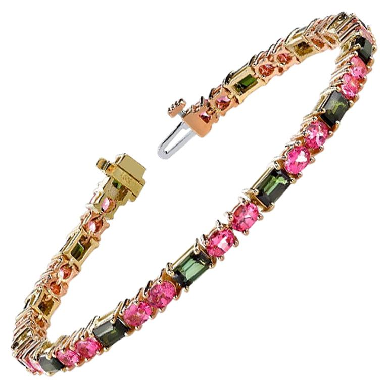 Green Tourmaline and Pink Spinel Bracelet, 18 Karat Pink and Yellow Gold For Sale