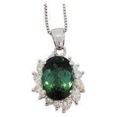 Green Tourmaline and White Diamond Pendant Necklace in Platinum