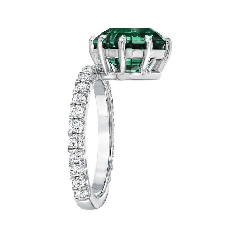 Contemporary Green Tourmaline Asscher Cut Diamond Platinum Cocktail Ring For Sale