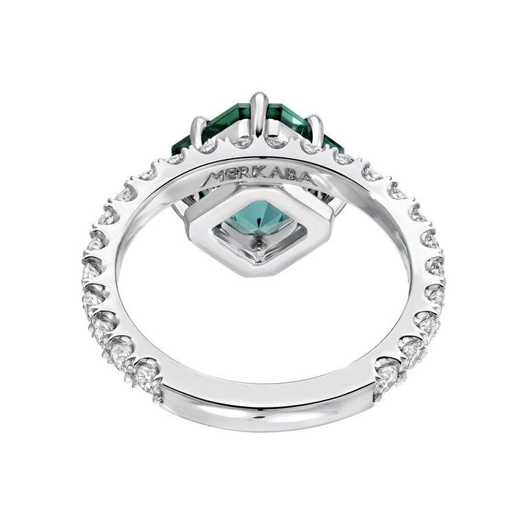 Emerald Cut Green Tourmaline Asscher Cut Diamond Platinum Cocktail Ring For Sale