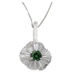 Green Tourmaline & Baguette Diamond 8.50TCW Ballerina Platinum Pendant Necklace