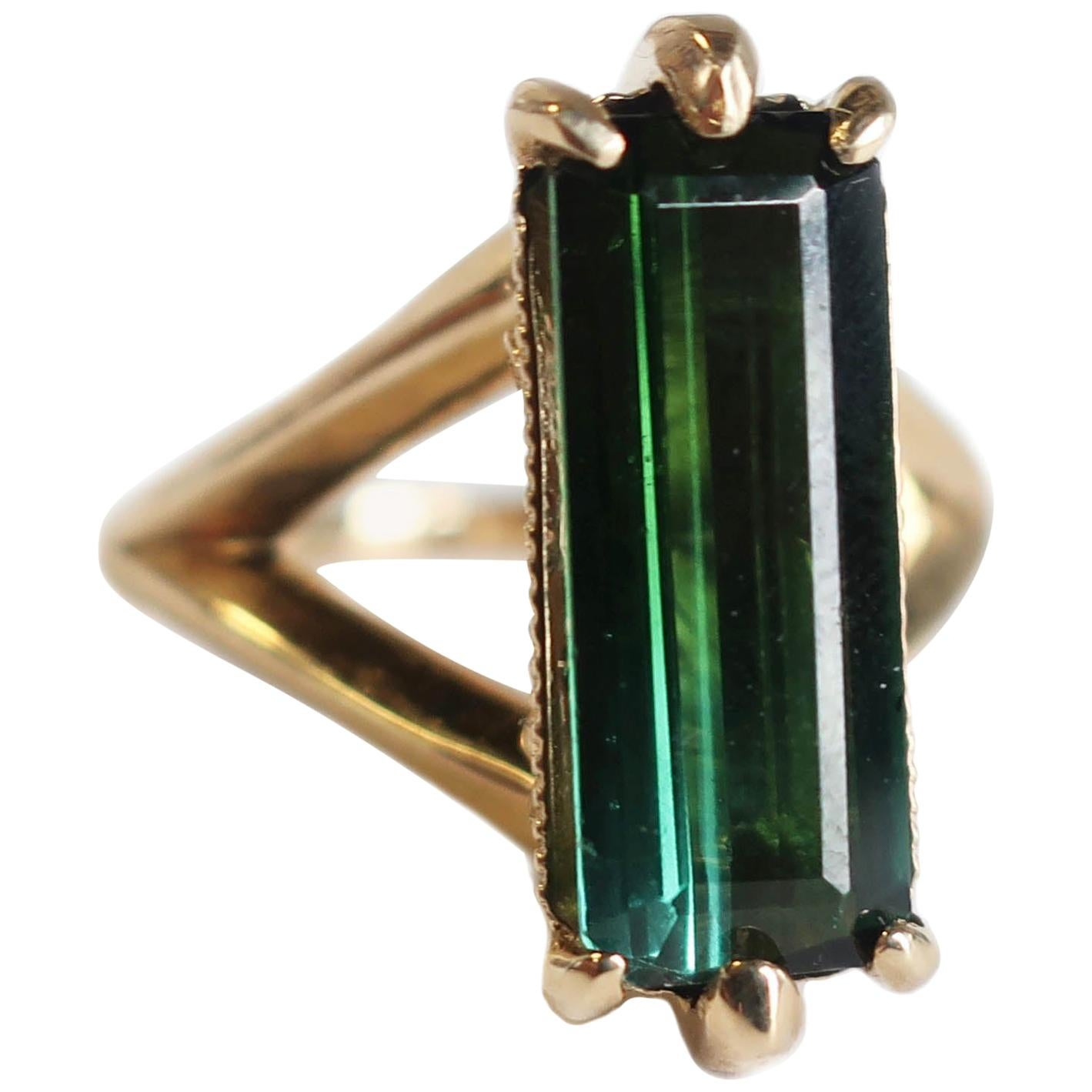 Green Tourmaline Baguette Ring in 14 Karat Gold with Diamonds