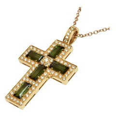 Green Tourmaline Baguettes and Diamonds Gold Cross Italy Made