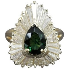 "Green Tourmaline ""Ballerina"" Style Baguette Diamond Ring"