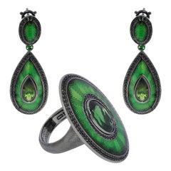 Green Tourmaline Black Sapphire 18 Karat Black Gold Enamel Ring Earrings Suite