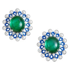 Green Tourmaline Cabachon and Akoya Pearls with Diamonds and Enamel Earrings