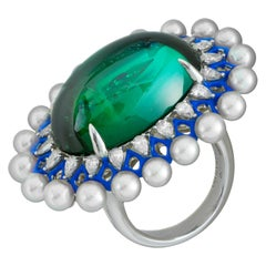 Green Tourmaline Cabachon and Akoya Pearls with Diamonds and Enamel Ring