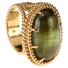 Green Tourmaline Cabochon 18 Karat Rose Gold Ring