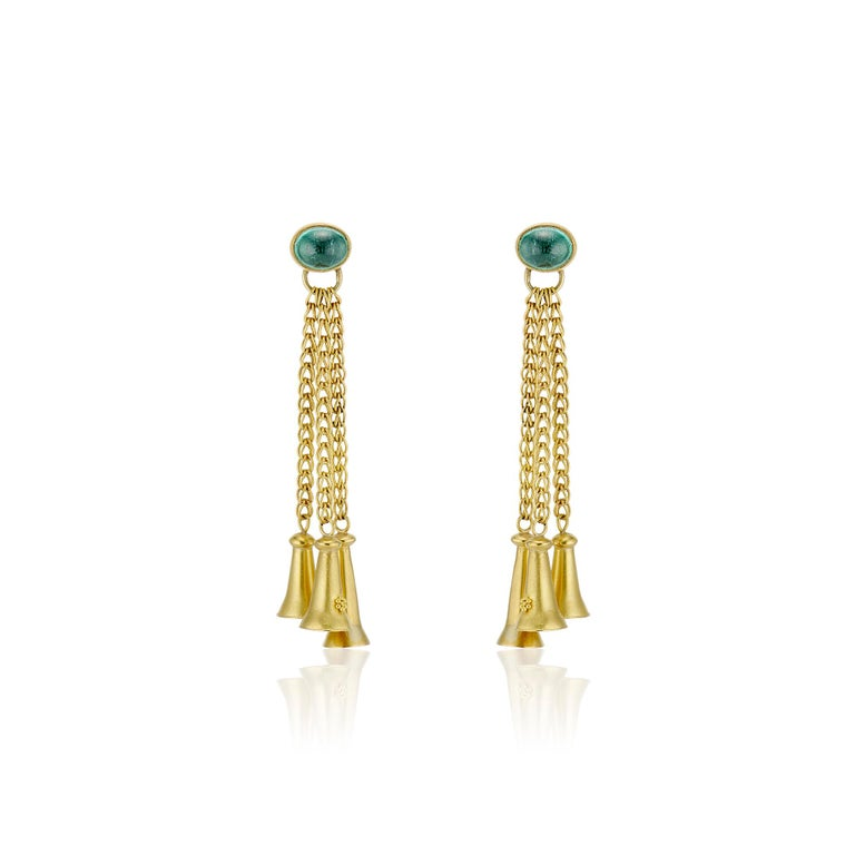 Contemporary Green Tourmaline Cabochons with Yellow Gold Bells and Gold Chain Dangle Earrings For Sale