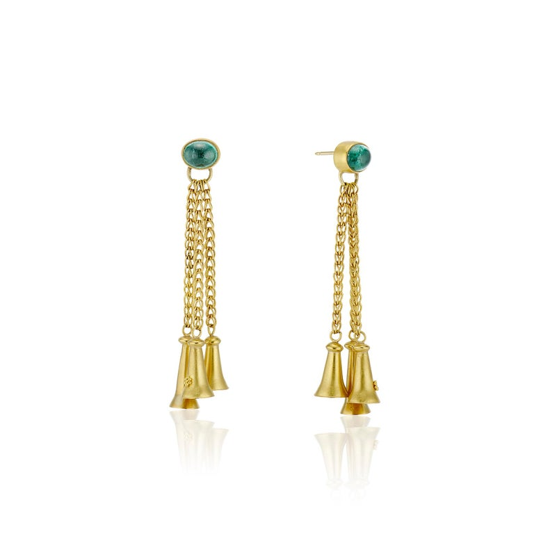 Oval Cut Green Tourmaline Cabochons with Yellow Gold Bells and Gold Chain Dangle Earrings For Sale