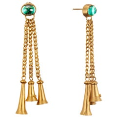 Green Tourmaline Cabochons with Yellow Gold Bells and Gold Chain Dangle Earrings