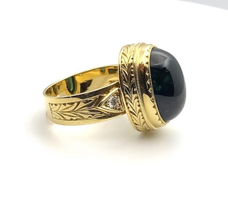 Women's or Men's Green Tourmaline Cabochon, Diamond, Yellow Gold Bezel Engraved Band Ring For Sale