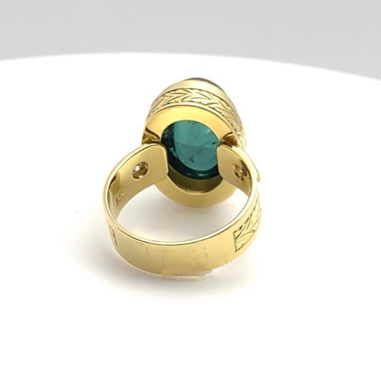 Green Tourmaline Cabochon, Diamond, Yellow Gold Bezel Engraved Band Ring For Sale 1