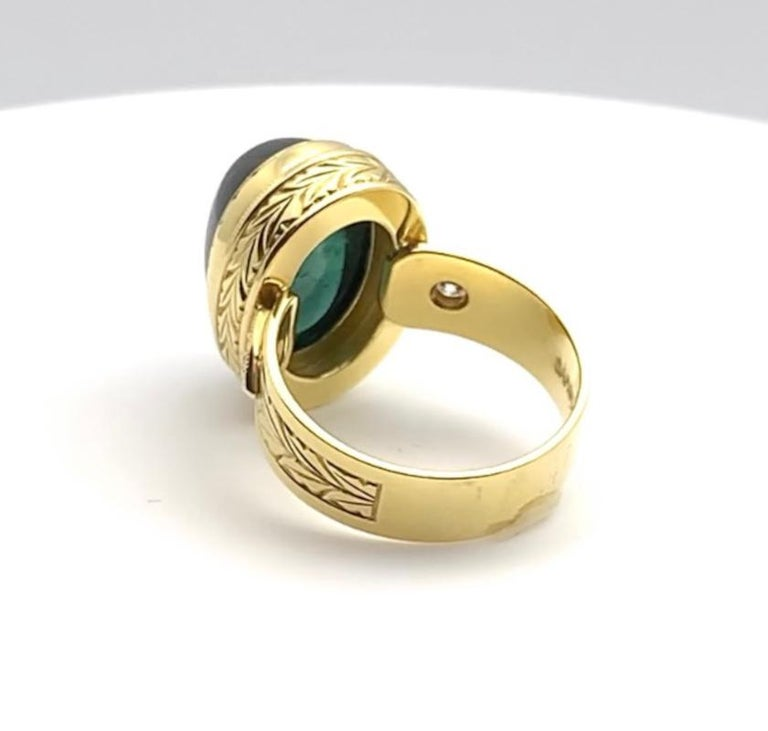 Green Tourmaline Cabochon, Diamond, Yellow Gold Bezel Engraved Band Ring For Sale 2