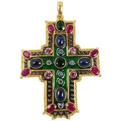 Green Tourmaline, Cabochon Blue Sapphire, Ruby Cross Pendant in 18 Karat Gold