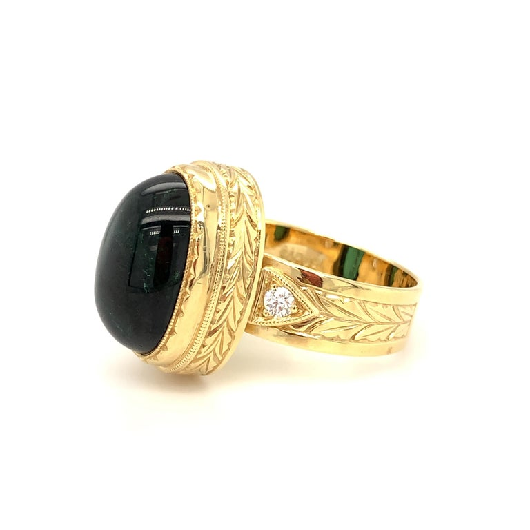 Green Tourmaline Cabochon, Diamond, Yellow Gold Bezel Engraved Band Ring For Sale 3