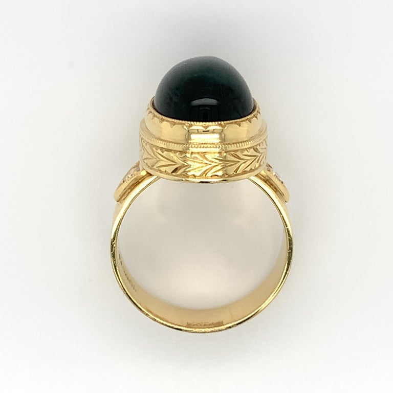 Green Tourmaline Cabochon, Diamond, Yellow Gold Bezel Engraved Band Ring For Sale 4