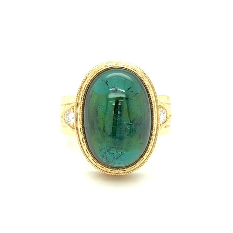 Green Tourmaline Cabochon, Diamond, Yellow Gold Bezel Engraved Band Ring For Sale 5
