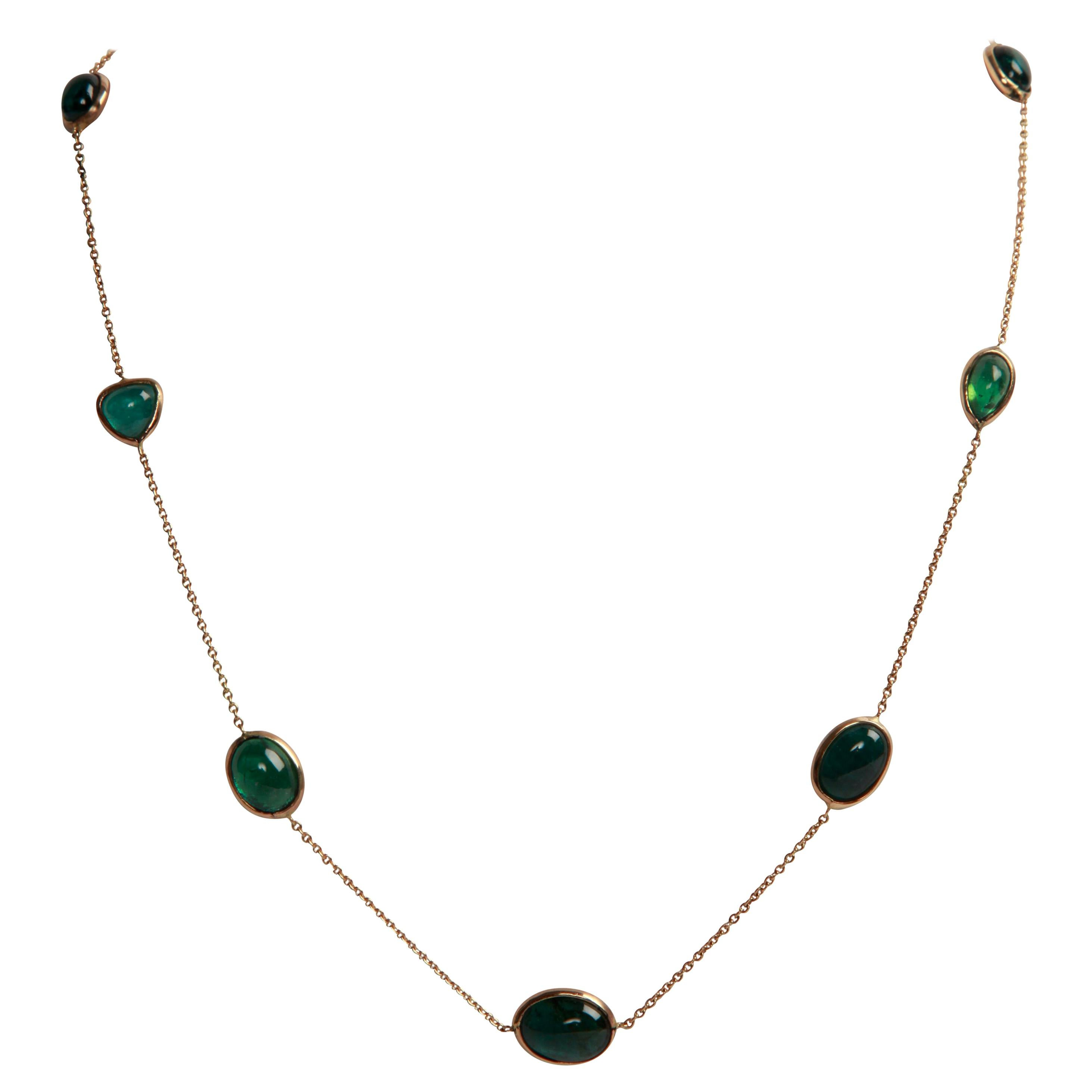 Green Tourmaline Cabochons and 18K Yellow Gold Necklace by Marion Jeantet