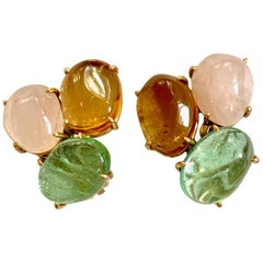 Green Tourmaline, Citrine and Rose Quartz 14 Karat Yellow Gold Clip-On Earrings