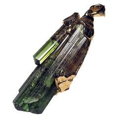 Green Tourmaline Crystals Gold Pendant Big Bicolor Gemstone Wizard Necklace