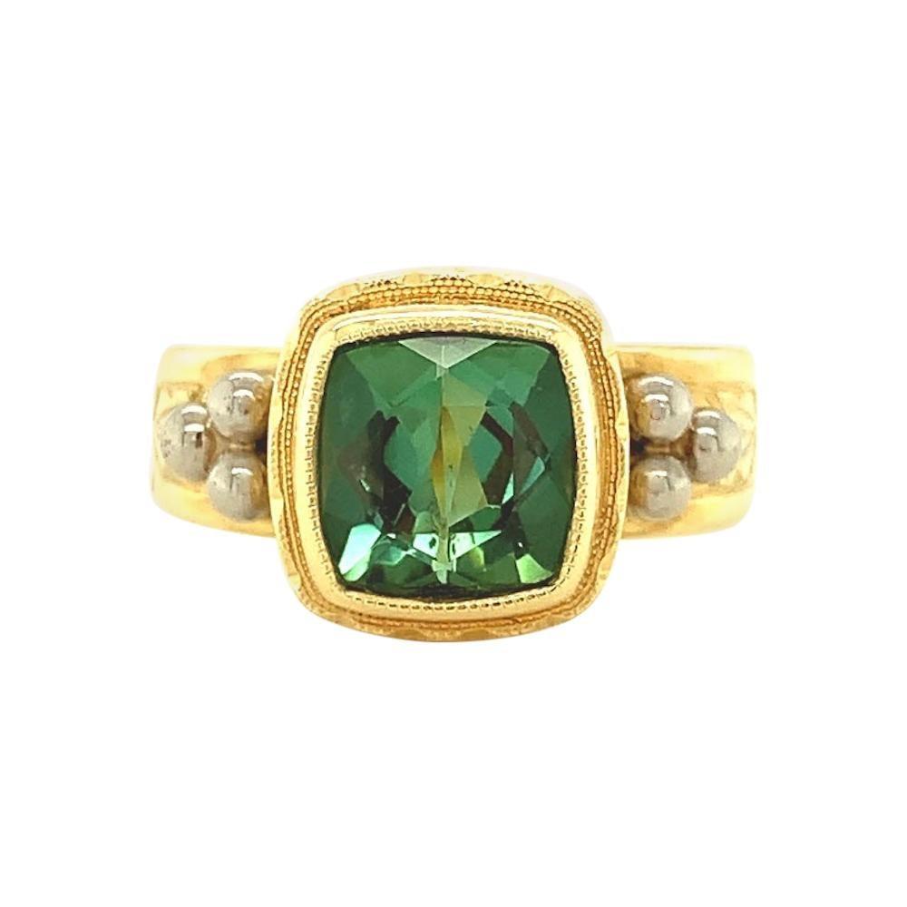 Green Tourmaline Cushion, Handmade Yellow Gold Engraved Bezel Signet Band Ring