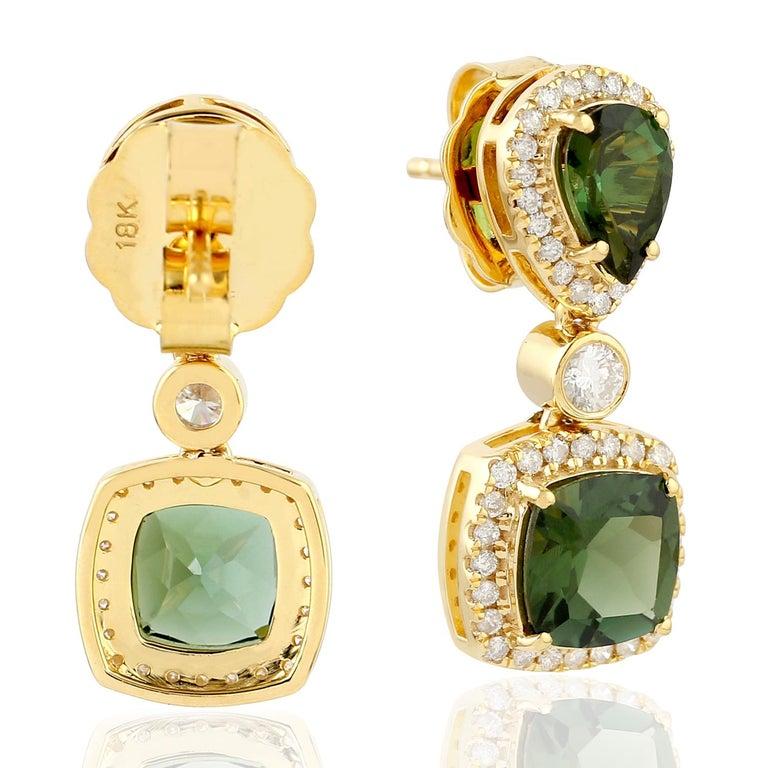Contemporary Green Tourmaline Diamond 18 Karat Gold Earrings For Sale