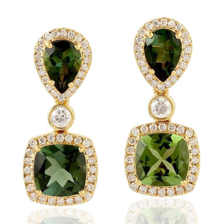 Cushion Cut Green Tourmaline Diamond 18 Karat Gold Earrings For Sale