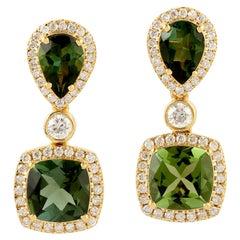 Green Tourmaline Diamond 18 Karat Gold Earrings