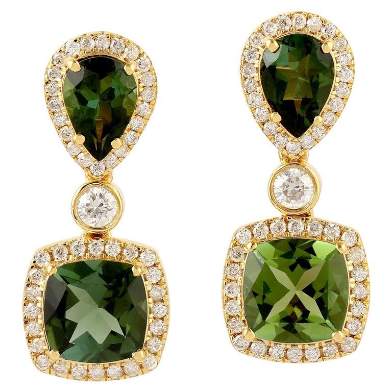 Green Tourmaline Diamond 18 Karat Gold Earrings For Sale