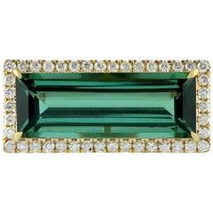 Green Tourmaline Diamond 18 Karat Gold Ring