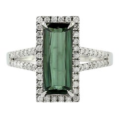 Green Tourmaline Diamond 18 Karat Gold Ring