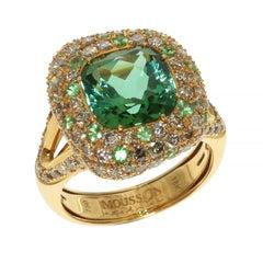 Green Tourmaline Diamond 18 Karat Yellow Gold Ring