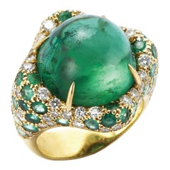 Green Tourmaline, Diamond and Emerald 18 Karat Gold Ring