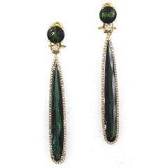 Grüne Turmalin Diamant Ohrhänger 18 Karat Gold mit Perlen