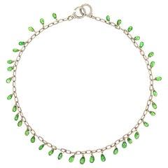Green Tourmaline Diamond Fringe Necklace Estate 14 Karat White Gold Choker
