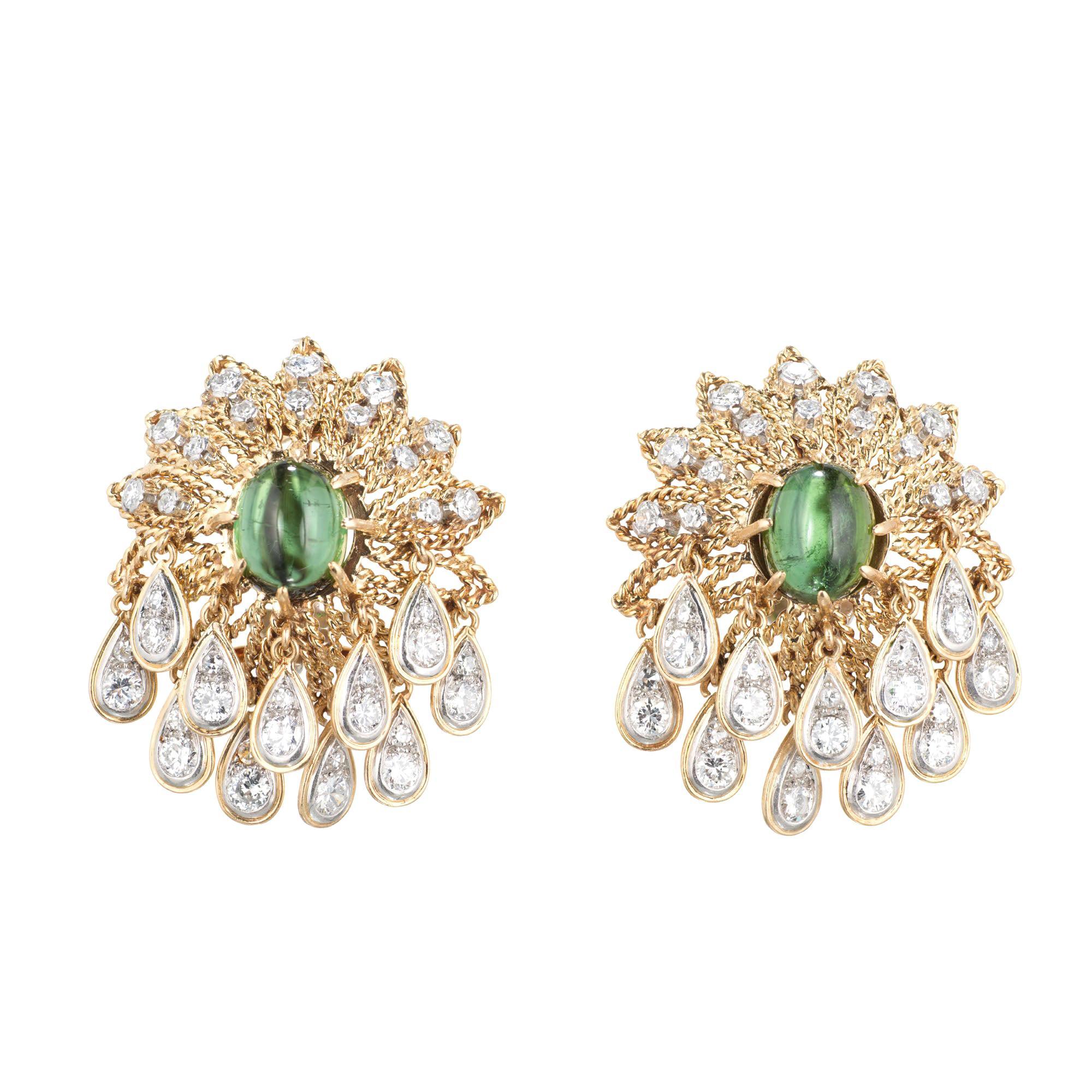 Green Tourmaline Diamond Gold Cluster Dangle Earrings