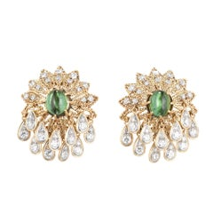 Green Tourmaline Diamond Gold Cluster Dangle Earrings