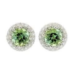 Green Tourmaline Diamond Halo Gold Stud Earrings