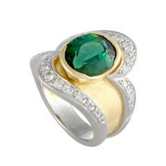 Green Tourmaline Diamond Platinum and Gold Ring