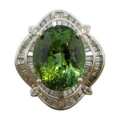 Green Tourmaline Diamond Platinum Cocktail Ring