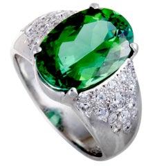 Green Tourmaline Diamond Platinum Ring