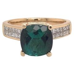 Green Tourmaline Diamond Ring 14 Karat 2.80 Carat Certified